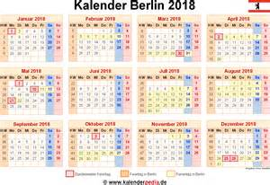 Kalender 2018 Mit Feiertagen Kalender 2018 Berlin Ferien Feiertage Excel Vorlagen
