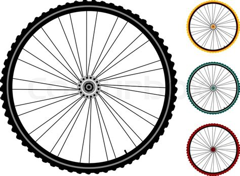 Bicycle Wheel Outline by Set Multicolored Bicycle Wheels Isolated On White Stock Vector Colourbox
