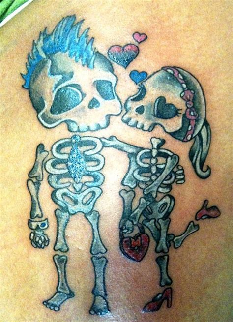 tattoo girl boy cute boy and girl skeletons by lilmrsfrankenstein on