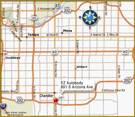 map of chandler arizona ez autobody map page