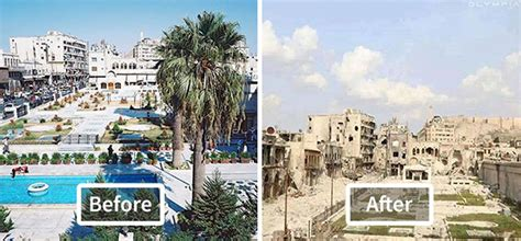 syria before and after 10 before and after photos show how war devastated syria