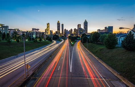 road lights city cityscape atlanta city lights long