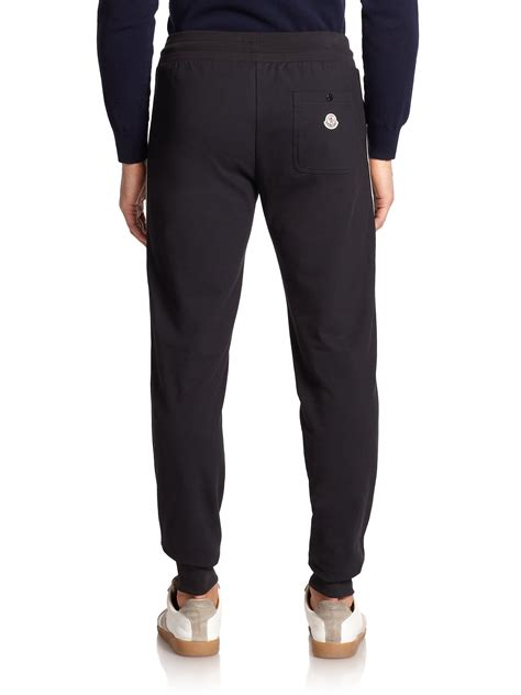 striped jogger sweatpants lyst moncler striped jogger in black