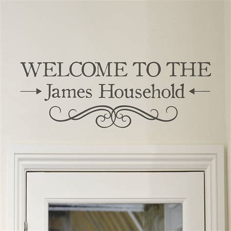 welcome wall stickers welcome personalised vinyl wall sticker by oakdene
