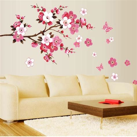 Diy Living Room Bedroom Wall Sticker Flower Floral Blossom