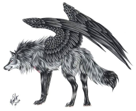 Black Ink Wild Tribal Wolf With Wings Tattoo Stencil Black Wolf Designs