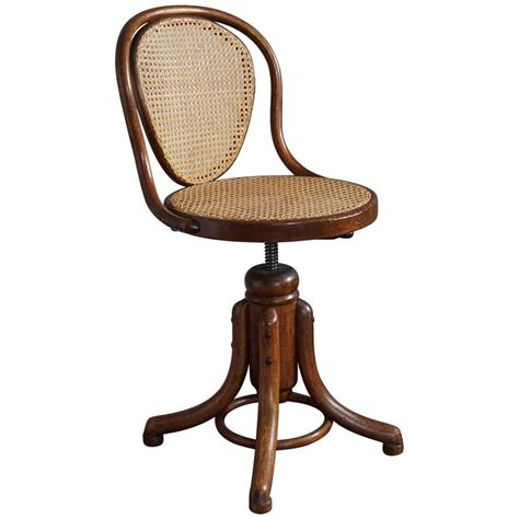 Elegant viennese thonet bentwood and webbing ladies desk or piano swivel chair for sale at 1stdibs