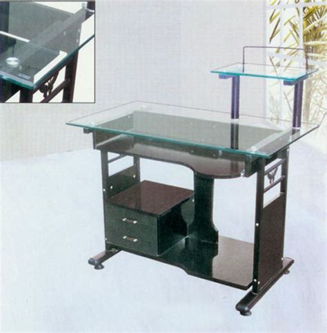 tempered glass computer desk computer armoires steel