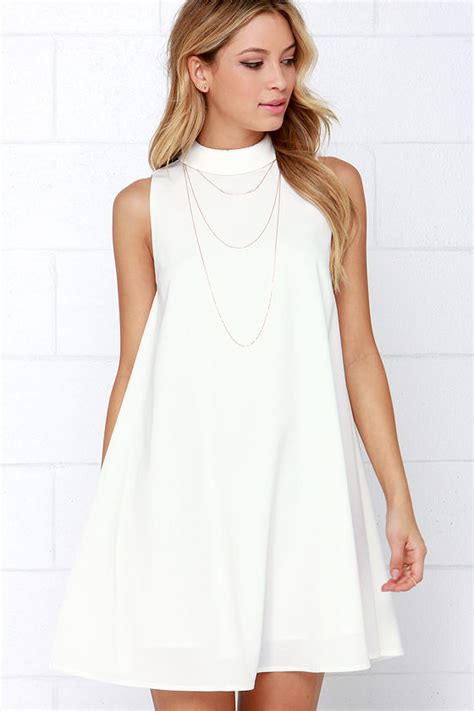 white swing dress cute ivory dress sleeveless dress swing dress white