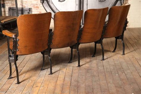 wooden theater seats vintage original wood and steel folding theater seats