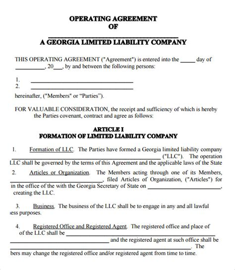 9 Sle Llc Operating Agreement Templates To Download Sle Templates Llc Membership Agreement Template