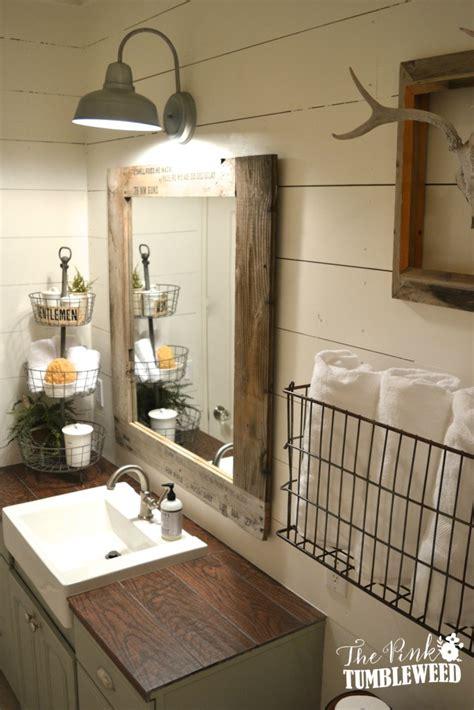 Rustic Guest Bathroom Ideas Rustic Bathroom Reveal The Pink Tumbleweed