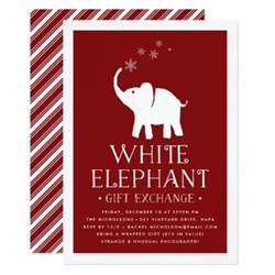 white elephant gift exchange invitation zazzle