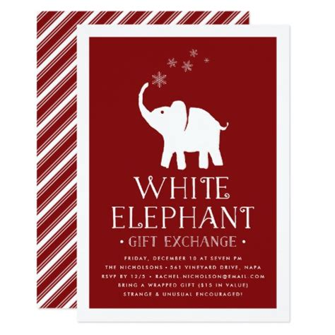 white elephant gift exchange party invitation zazzle