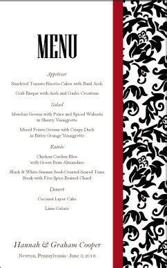 elegant formal dinner menu ideas formal wedding menu wedding archive