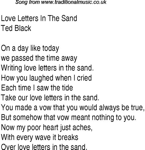 Letter In The Sand Lyrics Letters Song Chords