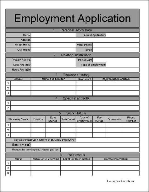 free editable employment application form employment