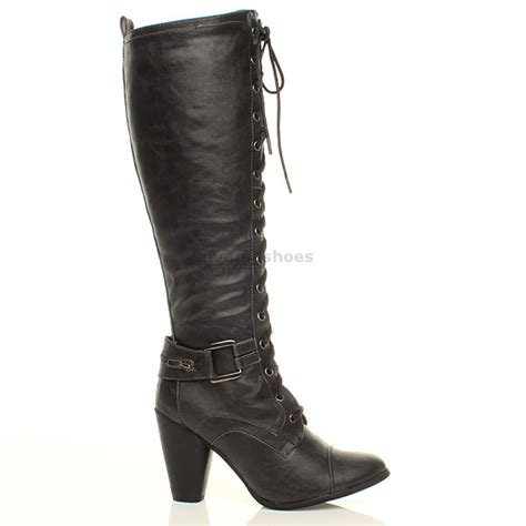 wide calf lace up boots womens biker lace up zip knee high heel