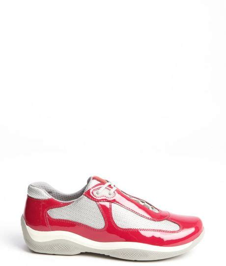 prada pink ibisco patent leather sneakers in pink lyst