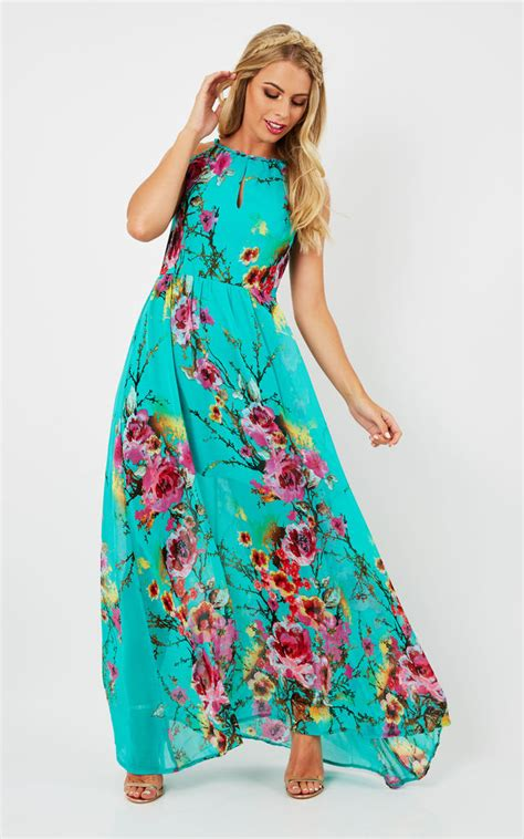 Maxi Vanela eryn turquoise floral printed maxi dress silkfred