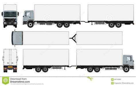 Truck Trailer Template Stock Vector Illustration Of Blank 84116384 Trailer Templates