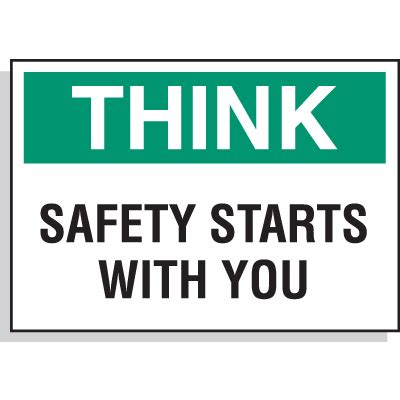 hazard warning labels think safety starts with you from