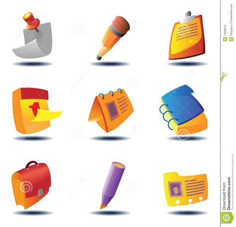 icone ufficio icone per i documenti e le note fotografia stock