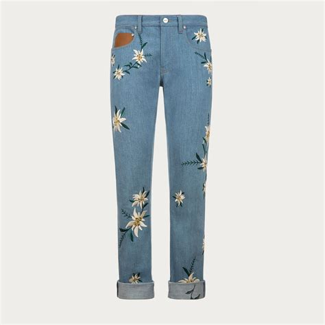 Bally Denim bally embroidered swiss flower in blue for lyst