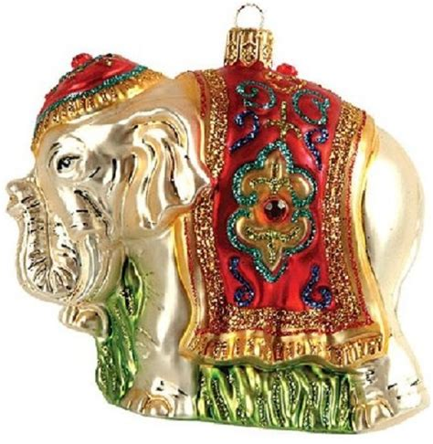 indian elephant polish glass christmas ornament made in