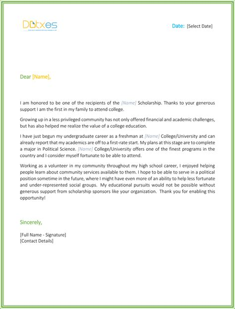 Scholarship Letter Of Thanks Scholarship Thank You Letter 7 Sle Templates You Should Send