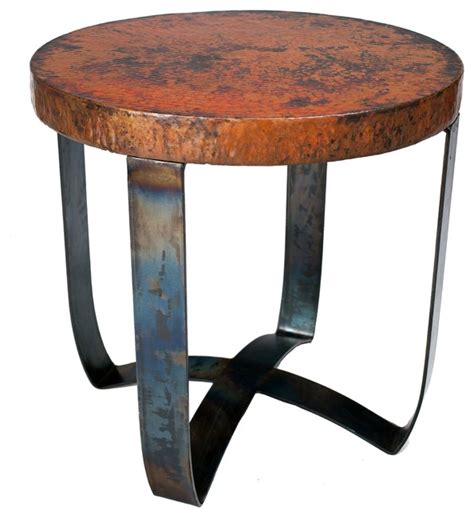 Copper Side Table End Table With Hammered Copper Top By Prima Eclectic Side Tables And End Tables