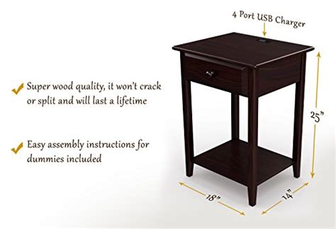 nightstand l with usb port stony edge stand end accent table with usb port