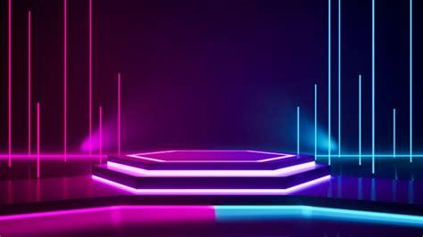 hexagon stage  purple neon light stage lighting