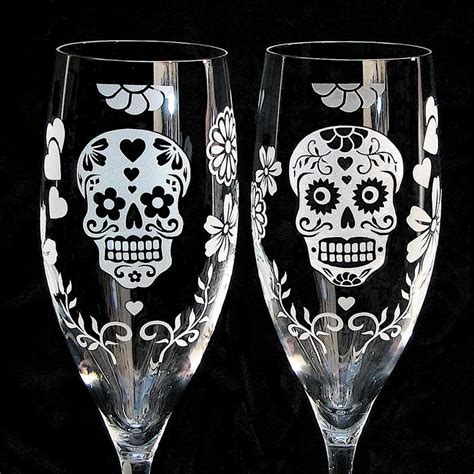 Day of the Dead Wedding Cake Server Set and Champagne