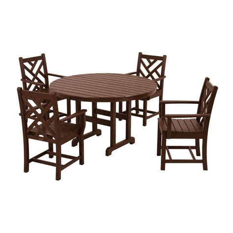 chippendale patio furniture polywood chippendale mahogany 5 patio dining set pws122 1 ma the home depot
