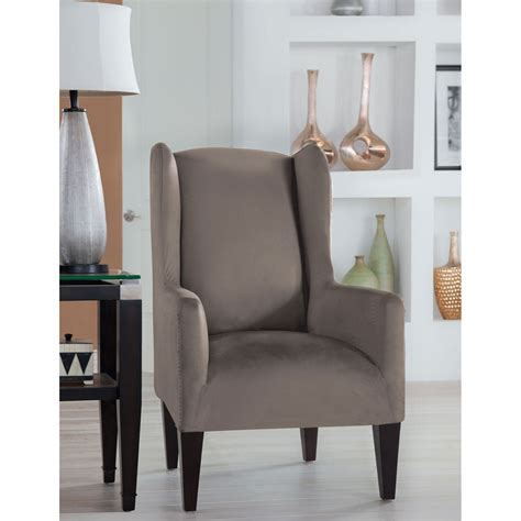 gray wing chair slipcover stretch fit grey wingback chair slipcover perfect fit