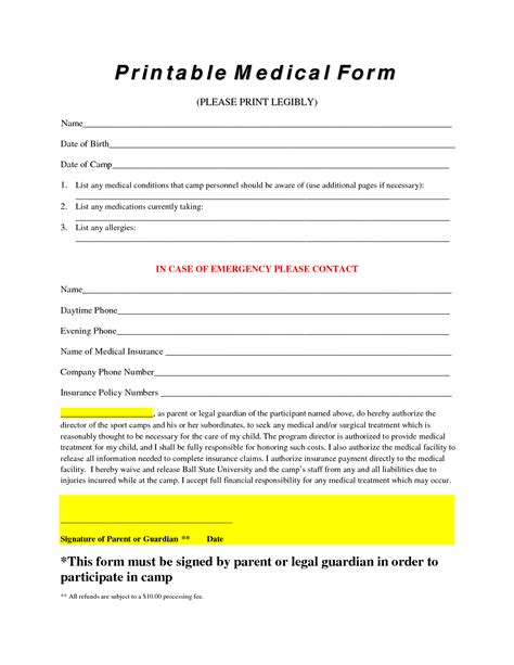 printable form 9 best images of printable forms doctors free