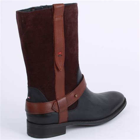 black or brown boots hilfiger hamilton womens ankle boots in black brown