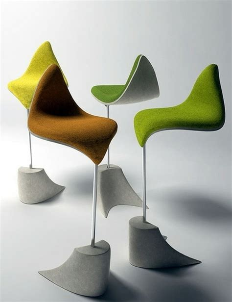 designer furniture chairs standing  leaf inspired