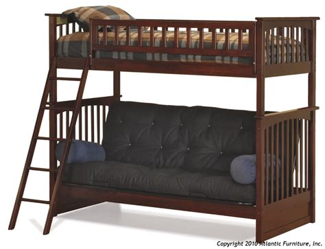 twin bunk with futon atlantic furniture columbia twin over futon bunk bed