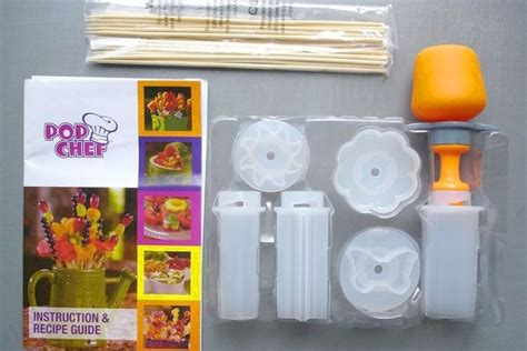 Pop Chef Push Pop Eat As Seen On Tv Alat Cetakan Pencetak M pop chef food decorator pop out 6 shapestreats in seconds