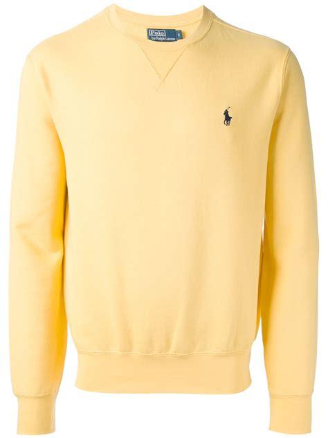 polo ralph lauren crew neck sweatshirt in yellow for men lyst