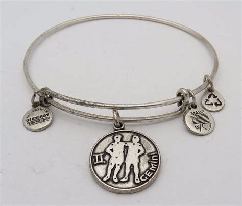 alex and ani bracelet alex and ani silver plated bangle bracelet with gemini tag