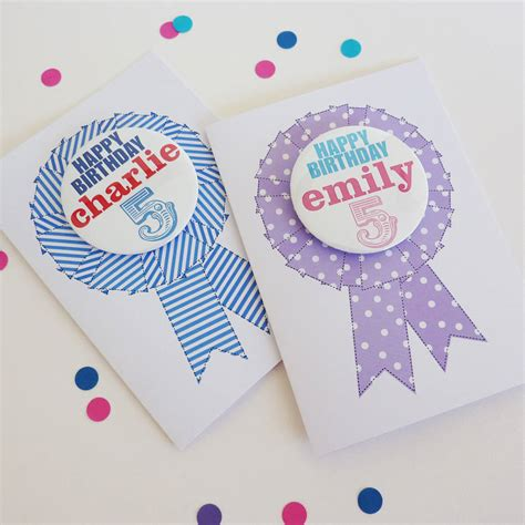 Birthday Card With Badge Birthday Card With Personalised Badge By Little Cherub
