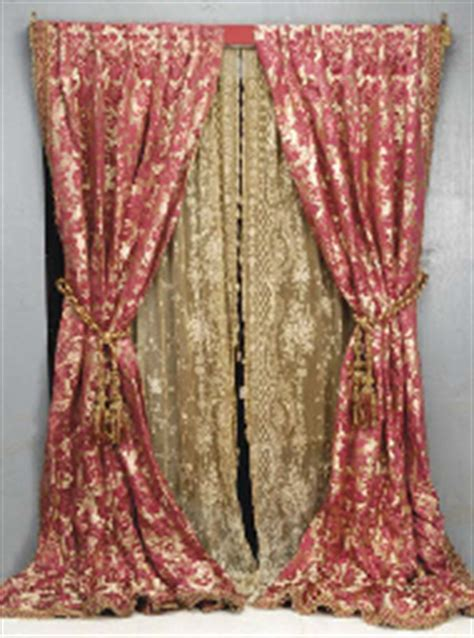red and gold damask curtains a pair of red and gold silk damask curtains 20th