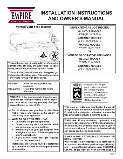 empire comfort systems manuals empire comfort systems vfsr 24 3 user manual 28 pages