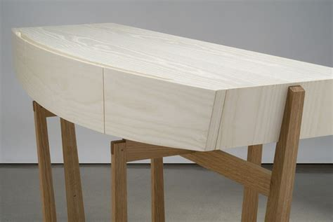 White Furniture With Oak Top by Cirrus Console Entry Table Detail Bleached Ash And
