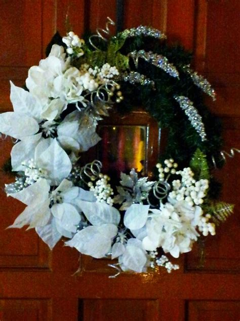 white and silver christmas wreath christmas pinterest
