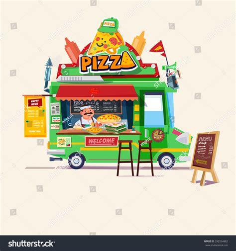 food truck design illustrator pizza food truck street food car stock vector 392554882