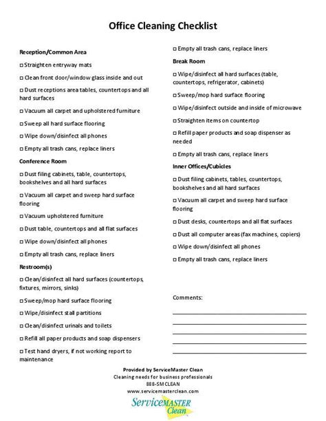 housekeeper duties list anuvrat info office cleaning checklist printable